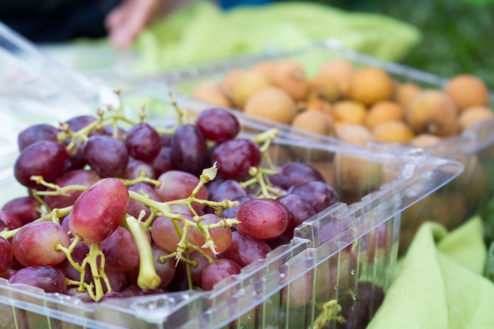 Some fruits on the side - grapes and longan